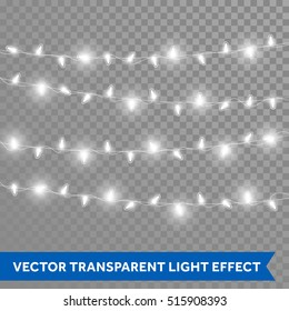 Christmas bulb lights. Vector isolated realistic glowing garland threads of neon white lamp lights. Christmas, New Year party decorations design elements