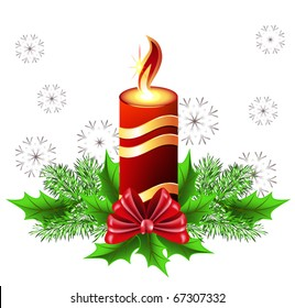 Christmas burning candle with bow and fur tree