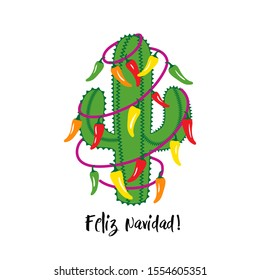 Christmas cactus with a garland of chili peppers. Feliz Navidad  (Merry Christmas). Holiday Invitation. Vector illustration.