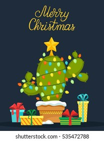 Christmas Cactus Tree with lights and a star on the top. Christmas greeting card. Vector illustration