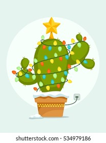 Christmas Cactus tree with lights. Vector illustration