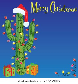 Christmas Cactus. Cactus wrapped with christmas lights and Santa hat