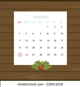 Christmas calendar hanging on the wall of wooden planks. Vector illustration