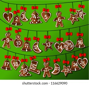Christmas calendar with sweet gingerbread