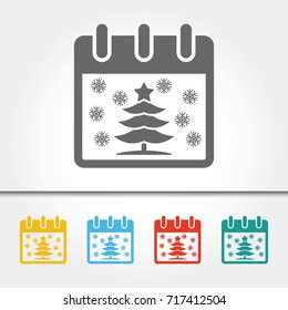 Christmas Calendar with Christmas Tree Single Icon Vector Illustration