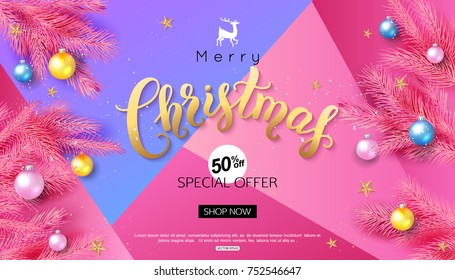 Christmas calligraphy sale inscription on pink background decorate balls fir branch and gold stars for online banner or promo poster design. Vector illustration