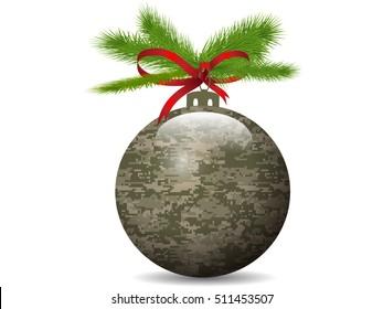 Christmas Camouflage ball.Vector