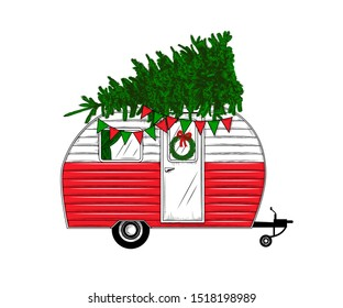 Christmas camper with christmas tree. Vintage vector illustration.   Engraved design elements on a white background.  Christmas style. Hand drawn retro card. Color drawing.