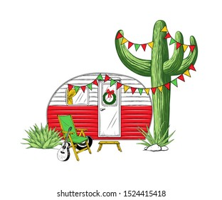 Christmas camper, various cacti, garlands with flags and a armchair with a guitar. Festive vector illustration. Travel trailer on a background of exotic nature.