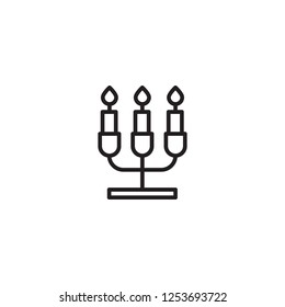 christmas candelabra icon. Trendy modern flat linear vector christmas candelabra icon on white background from thin line Christmas collection, outline vector illustration