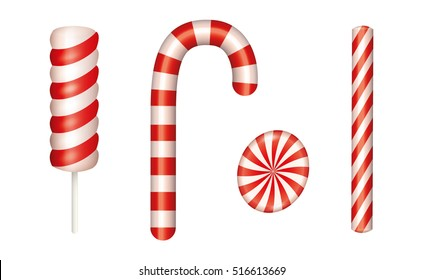 Christmas candies set. Includes Candy cane. Isolated vector illustration.