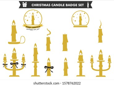 Christmas candle badge set , gold colour vector , including tall and short candle globe, and the candle holder