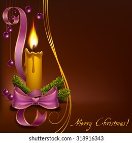 Christmas candle with beads on a brown background to vector format