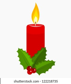 Christmas candle and holly berry. Vector illustration
