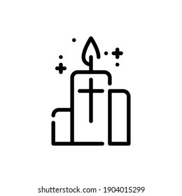 Christmas Candle Icon Logo Illustration Vector Isolated. Christ and Easter Icon-Set. Suitable for Web Design, Logo, App, and UI. Editable Stroke and Pixel Perfect. EPS 10.