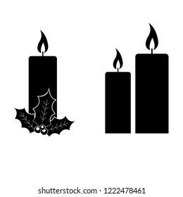 Christmas candle icon, logo on white background