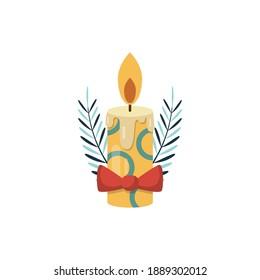 christmas candle logo collection design
