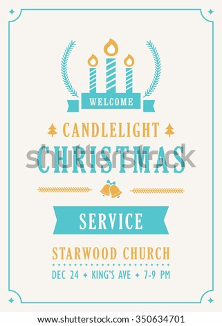 christmas candlelight service church invitation stock vector