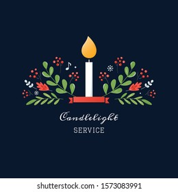 Christmas Candlelight Service or Event Invitation