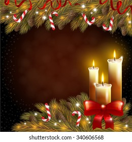 Christmas candles and a fir tree