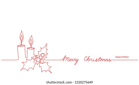 Christmas candles and holly berry simple red contour and Merry Christmas text background. One continuous line vector drawing, banner, illustration
