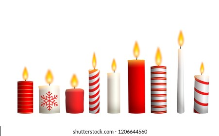 Christmas candles isolated on white background, vector illustration, eps 10 with transparency