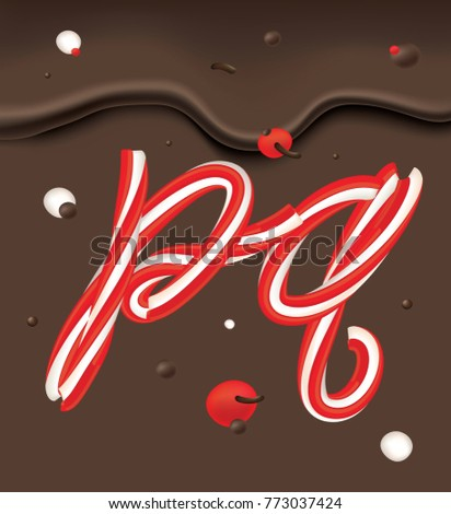 Christmas Candy Alphabet Xmas Candy Cane Stock Vector Royalty Free