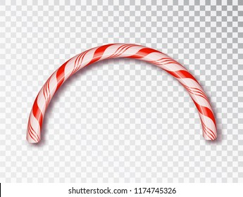 Christmas Candy border isolated . Blank Christmas design, realistic red and white twisted cord frame.  New Year 2019. Holiday design, decor. Vector illustration.