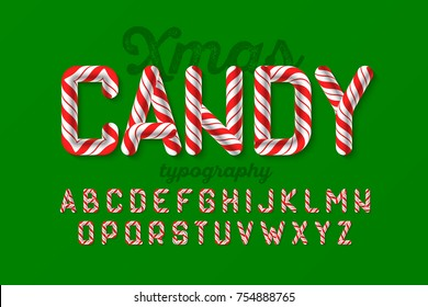 Christmas candy cane alphabet, vector illustration