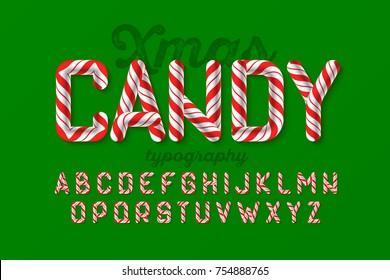 Christmas candy cane alphabet, vector illustration