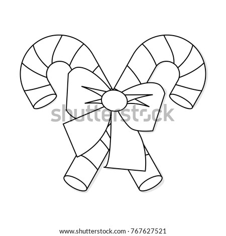 christmas candy cane bow outline icon stock vector royalty free