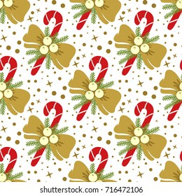 Christmas Candy Cane and Bow Seamless Pattern - Great for Christmas and Winter Projects, Wrapping Paper, Backgrounds, Wallpapers.