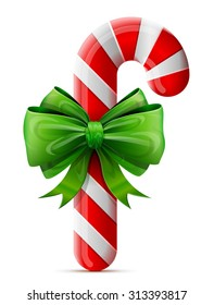 Christmas candy cane with bow. Striped holiday candy stick decorated ribbon. Vector design element for christmas, new year's day, winter holiday, dessert, new year's eve, food, silvester, etc