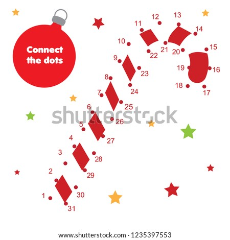 christmas candy cane connect the dots game dot to dot by numbers educational game for