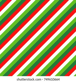 Christmas Candy Cane Four Color Stripes Seamless Vector Pattern in Red, White, Lime Green and Dark Green. Popular Winter Holiday Decor Background. Diagonal Lines Texture Tile.