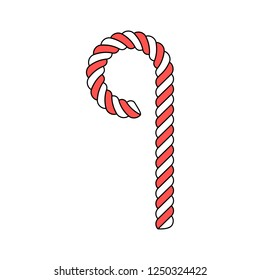 Christmas candy cane, isolated on white background.