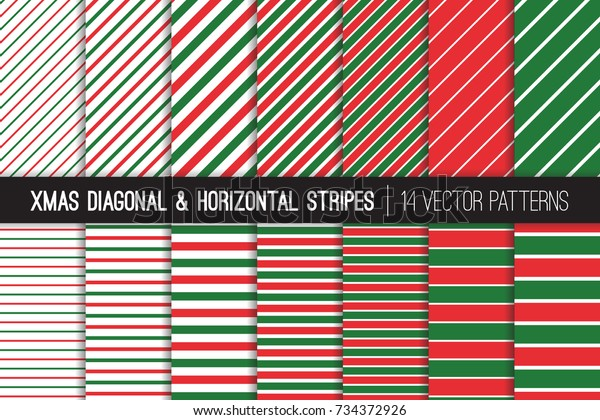 Christmas Candy Cane and Pin Stripes Vector Patterns. Red Green Xmas Diagonal and Horizontal Striped Minimal Backgrounds. Variable Thickness Lines. Pattern Tile Swatches Included.