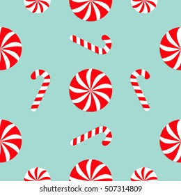 Christmas Candy Cane Round white and red sweet set. Seamless Pattern Decoration. Wrapping paper, textile template. Blue background. Flat design. Vector illustration.