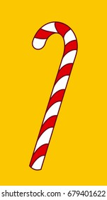 christmas candy cane vector icon isolated on yellow background, tasty xmas peppermint candycane, hand drawn line art lollipop pictogram, cartoon lolly pop, sweet sugar stick with red colored stripes