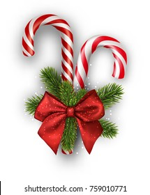 Christmas candy canes with red bow isolated on white. Vector illustration.