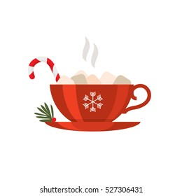 Christmas candy drink. Vector illustration. Sweet marshmallow coffee
