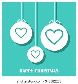 Christmas candy heart decorative template Design, Christmas New Year Flat card illustration