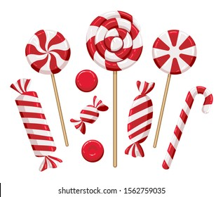 Christmas candy lollipops. Xmas holiday candies isolated on background, colorful lollipop set for kids vector illustration, candys confectionery sweets traditional dessert collection