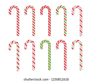 Christmas cane candy. Vector. Stick isolated. Decoration sugar lollipop. Holiday red background. Cartoon illustration. Striped traditional noel dessert. Realistic lollypop icon.