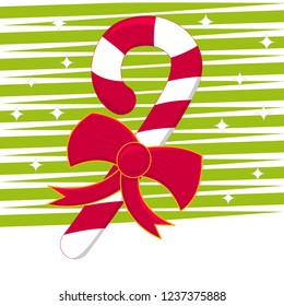 A Christmas cane with red and white stripes with a bow and a sparkling background with stars.
