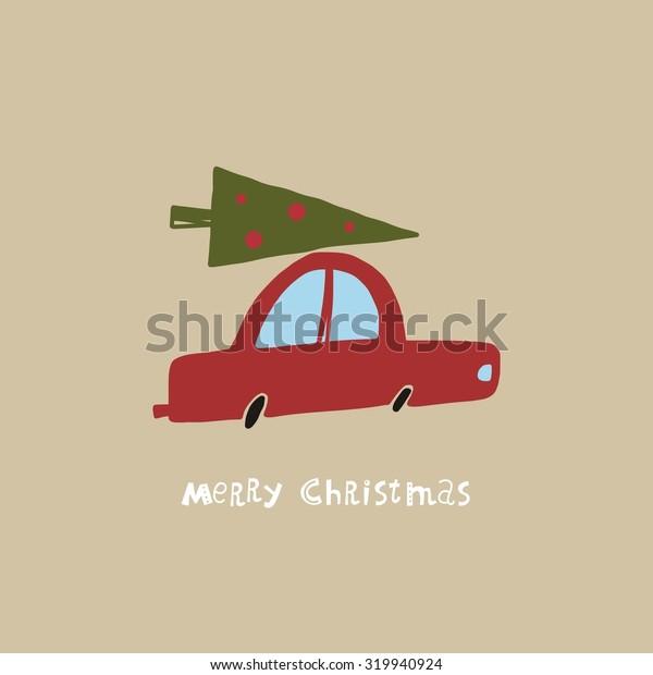 Christmas car funny vector card design