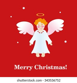 Christmas card with angel. paper applique