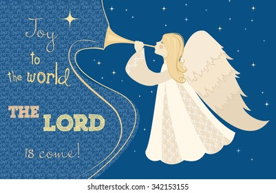 Christmas card. Angel with pipe in his hand. Vector illustration