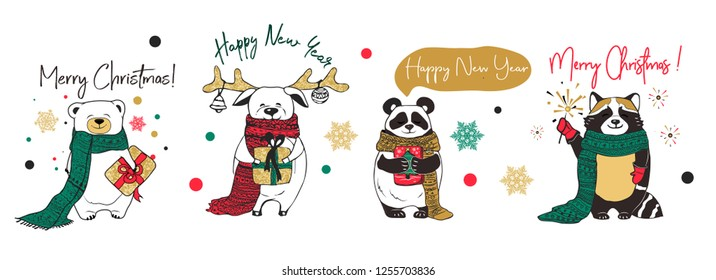 Christmas card with animals, hand drawn style. doodle cartoon set.Hand skech style - calligraphy, animals and other elements. Vector illustration.