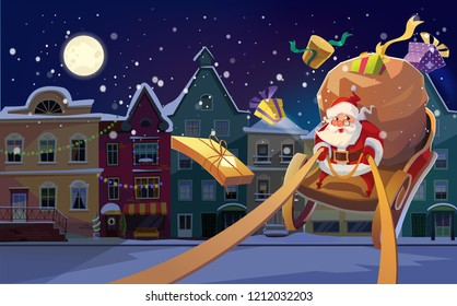 Christmas Card. Christmas background with Santa driving his sleigh and gives presents and gifts. Winter night city in the bacground. and copyspace the text